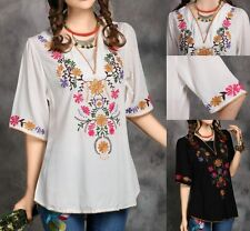 Vtg 70s Mexican Boho Ethnic EMBROIDERED Hippie Blouse Dress Woman Clothing US17