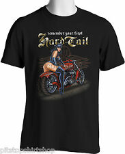 Biker T-shirts Harley Hardtail Vintage Motorcycles Men Black S 3XL Big and Tall