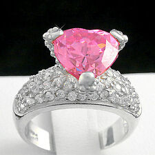 SOLID 925 STERLING SILVER 3.16ctw PINK Simulated Diamond Ladies Ring   NEW