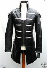 Black GOTH LAMBS LEATHER COAT Mans Gothic Steampunk Jacket
