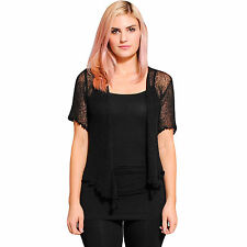 New Women's Girls Petite Netted Bali Sweater Top-10157