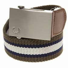 New Mens Fred Perry Green Striped Webbing Belt Cotton/Polyester Belts