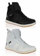 New Men's Rawcraft High Top Fashion Trainers Plain Shoes Plimsolls Black & White