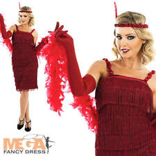 Red Flapper Dress Ladies Costume 1920s Charleston Womens 20s Fancy Dress Outfit