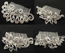 New Fashion Bridal Flower Rhinestone Crystal Prom Wedding Tiara Hair Comb ABC2