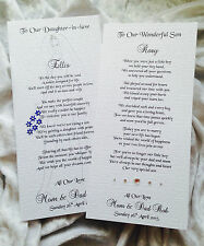 Parents of the Groom to Son &/or Daughter-in-law personalise keepsake poem card