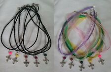 10 CROSSES  NECKLACES PARTY FAVORS. PERFECT FOR A BAPTISM, FIRST COMMUNION sdw