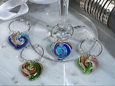 Murano Art Glass Heart Wine Charm Bridal Birthday Wedding Favor Party Gift