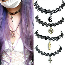 Vintage Stretch Tattoo Choker Necklace+CHARM Henna Elastic Retro Collar 90s-01