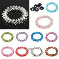 Free Ship 10x Elastic Phone Wire Hair Tie Band Rope For Lady Girls Multi Colors