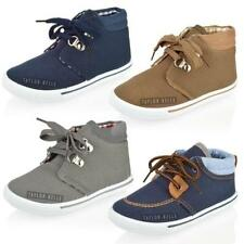 BOYS KIDS DESERT BOOTS CANVAS HI TOP TRAINER LACE UP ANKLE SUMMER SHOES SIZE