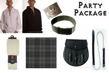 Great Gift: Mens Fun Party Kilt Package - Casual Scottish Outfit - Granite Grey