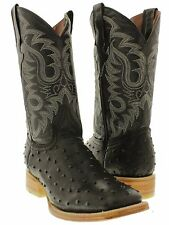 Men's cowboy boots ostrich quill black leather western rodeo dress square toe TW