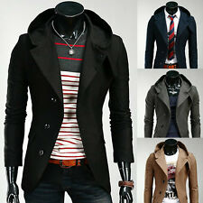 Mens Fashion Casual Hooded Hoodies Slim Fit Suit Blazer Jackets Coats 4 Color UK