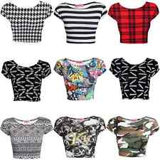 New Ladies Stylish Different Pattern Stretch Vest Crop Top Tee Sizes S/M & M/L