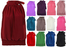 New Womens Halter Neck Draped Ruched Top Blouse Flattering Bow Tie Party Evening