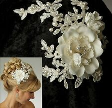 White or Ivory Satin Flower Alencon Lace Pearl Spray Bridal Hair Clip Accessory