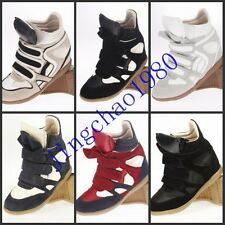 2014 Leather Women Velcro Strap High-TOP Sneakers Shoes/Ladys Ankle Wedge boots