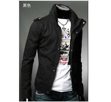 Mens Slim Fit Casual Zipper Button Hoody Top Design Military Jackets Rider Coat
