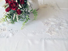 """Vintage Embroidered White Leaf Tablecloth 80"""" Square Good for 6-8 seats"""