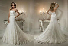 New White/Ivory Lace Wedding Dress Custom All Size 2-4-6-8-10-12-14-16-18-20++++