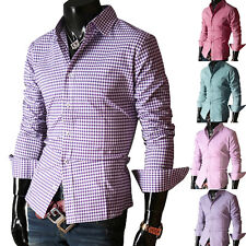 Smart Business Mens Slim Fit Long Sleeve Casual/Formal Dress Shirts Tops Sz S-XL