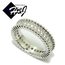 Women's Stainless Steel 5mm Silver Eternity Pave CZ Wedding Band Ring*R57