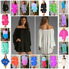 RESORT 2015 BOHO SOLID OR OMBRE RUFFLE SLEEVE OFF SHOULDER MINI DRESS TUNIC $49