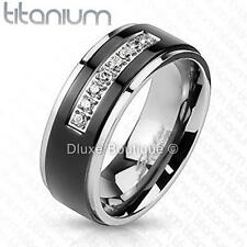 Men's Solid Titanium Black IP Center Simulated Diamond Comfort Fit Wedding Band