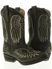 Kid's childrens girls boys youth cowboy boots black leather wings cross rodeo