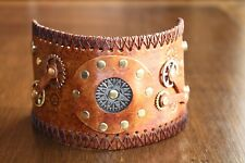 Steampunk Leather Bracelet. Handmade in USA!!!