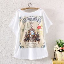 Womens Batwing Sleeve Vintage Classical Graphic Print Loose T Shirt Blouse Tops