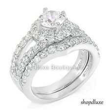 2.65 CT HALO ROUND CUT CZ STERLING SILVER WEDDING RING SET WOMEN'S SIZE 5-9