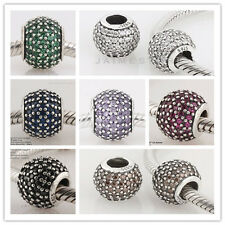 925 Silver Drum Crystal Pave Threaded Silver Beads fit European Charm Bracelet