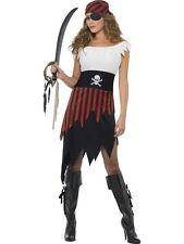 Pirate Wench Costume S M L Womens Dress Bandana Red White Black themed