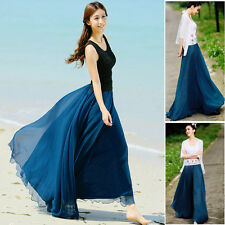 Newest Fashionable Summer Girl Elastic Waist Band Dress Chiffon Long Maxi Skirt