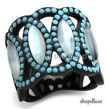 WOMEN'S CONCH & TURQUOISE BLACK STAINLESS STEEL WIDE BAND FASHION RING SIZE 5-10