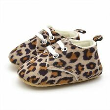 NWT Toddlers Soft Sole Leopard  Crib Shoes Infant Baby Lace Up Prewalker Shoes
