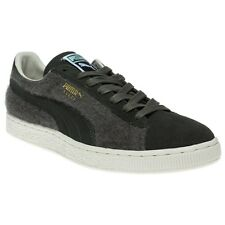 New Mens Puma Green Suede City Textile Trainers Retro Lace Up