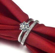 1.55 CT Engagement Diamond Rings Set  For Women Sterling Silver Platinum Plated