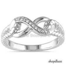 WOMEN'S 925 STERLING SILVER INFINITY KNOT FRIENDSHIP LOVE PROMISE RING SIZE 4-10
