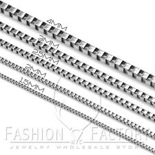 "18""-36"" MEN's Unisex Stainless Steel 1.5mm-4mm Square Box Link Chain Necklace C3"