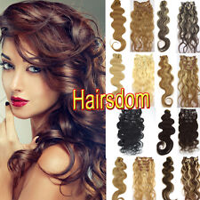 """REAL Curly CLIP IN Remy HUMAN HAIR EXTENSIONS BODY WAVY 18""""20""""22"""" 70g 100g HOT"""