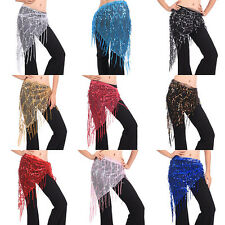 Belly Dance Triangle Hand Make Sequin Tassles Mesh Hip Scarf Wrap 9 Colors NEW