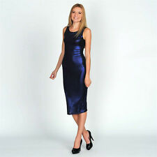 BNWT MISO Sparkly Blue Evening Midi Dress 10-16 Bodycon Party/Glossy Designer