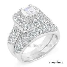 3.50 CT HALO PRINCESS CUT CZ STERLING SILVER WEDDING RING SET WOMEN'S SIZE 4-11