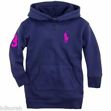 NWT Ralph Lauren Polo Girls Big Pony Neon Fleece Hoodie Pullover Sweatshirt