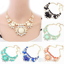 Hot Trendy Elegant Woman Jewelry Resin Rhinestone Flower Bib Choker Necklace P39