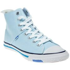 New Womens Superdry Blue Super Series High Canvas Trainers Lace Up