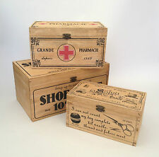 VINTAGE WOODEN STORAGE BOX FIRST AID / SHOE SHINE / SEWING FRENCH SHABBY RUSTIC